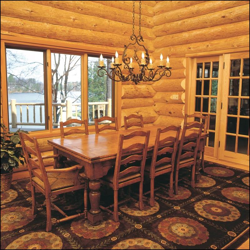 Luxury Log Home Dining Room Anderson Hammack Construction