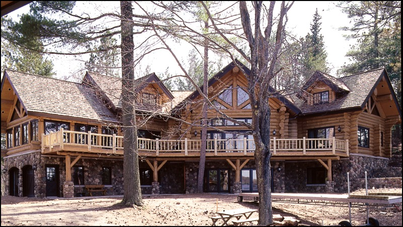 Luxury Log Home Exterior Deck Anderson Hammack Home Construction