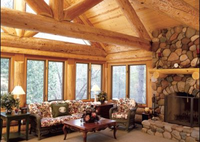 Luxury Log Home Great Room Anderson Hammack Home Builders Superior WI