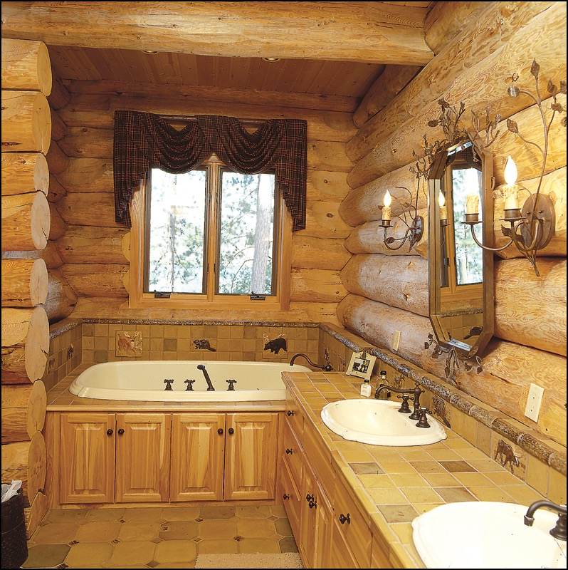 Luxury Log Home Master Bathroom Anderson Hammack Construction