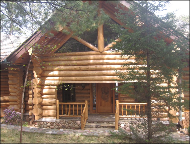 Luxury Log Home Porch Home construction company
