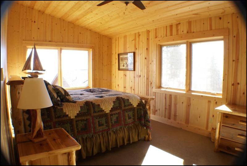 North Shore Log Home Bedroom Lake Superior Anderson Hammack