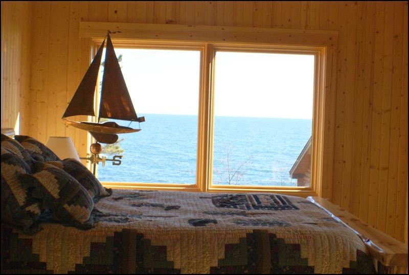 North Shore Log Home Bedroom Anderson Hammack Lake Superior