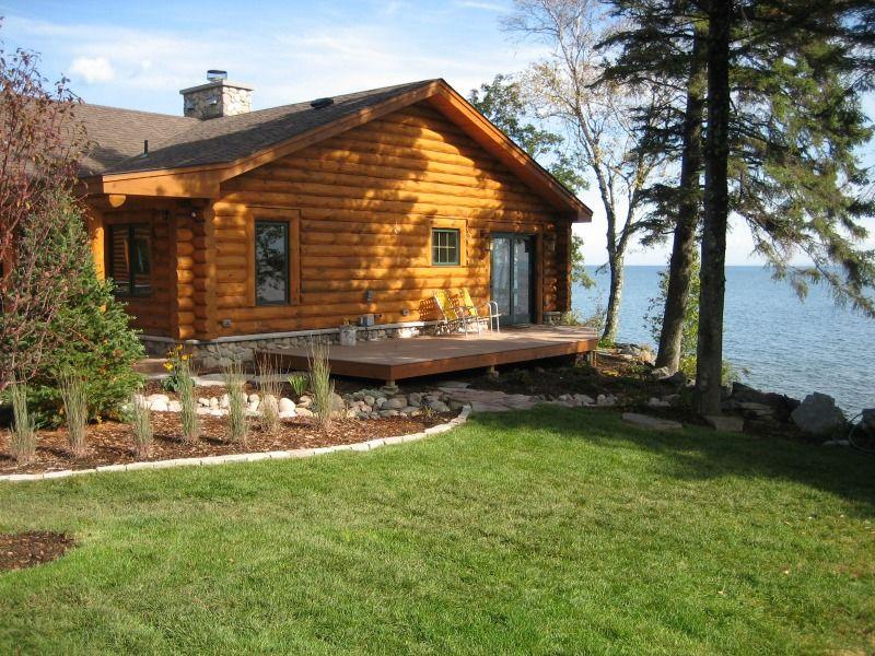 North Shore Log Home Deck Lake Superior View Anderson Hammack