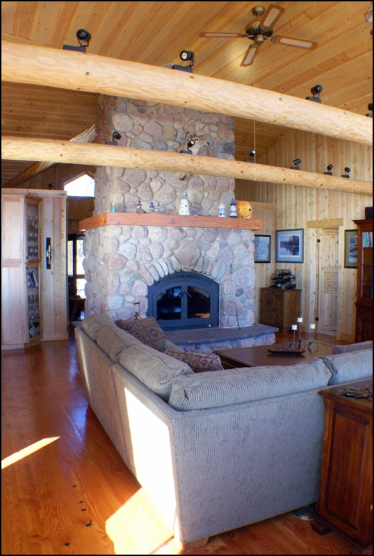 North Shore Log Home Fireplace Anderson Hammack Construction