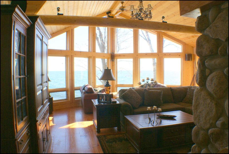 North Shore Log Home Great Room Anderson Hammack Builders Superior Wisconsin