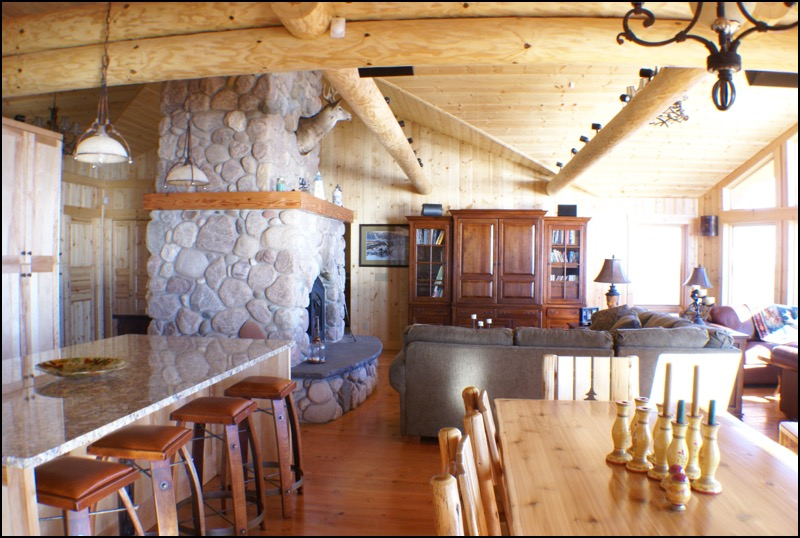 North Shore Log Home Great Room Luxury Home Builder Anderson Hammack