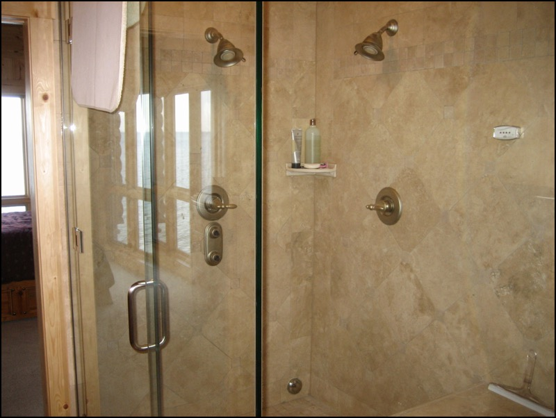 North Shore Log Home Shower Anderson Hammack Construction Duluth, MN