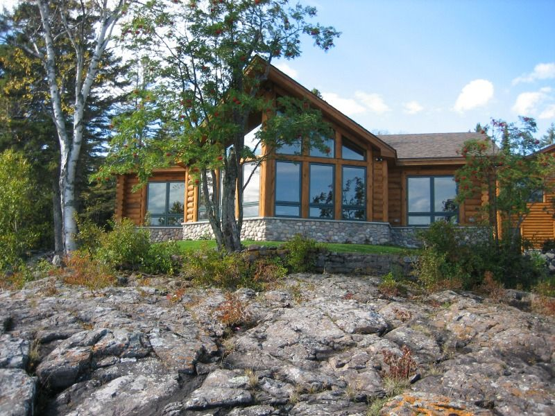 North Shore Log Home Windows Anderson and Hammack Construction Luxury