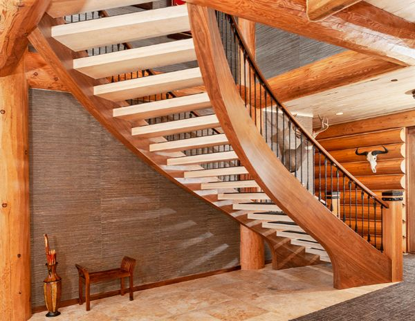 Beautifully hand crafted wooden staircase