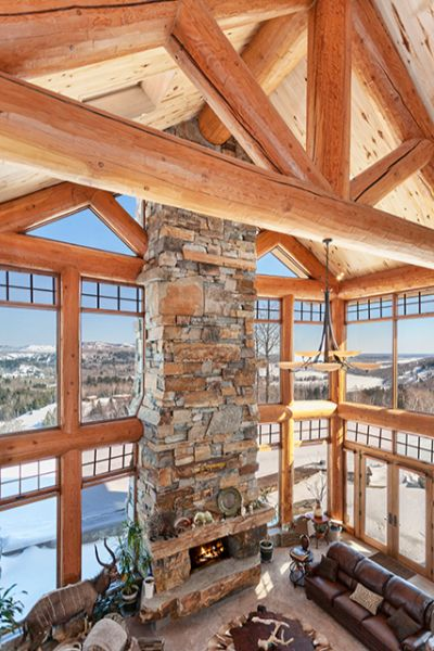Log Cabin Great Room Stone Fireplace