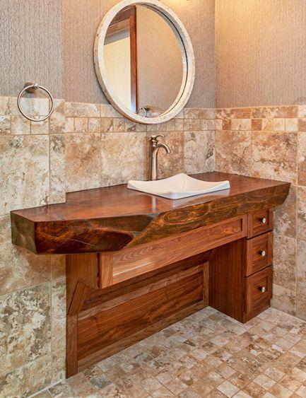 Custom Wooden Bathroom Vanity With Stone Surround
