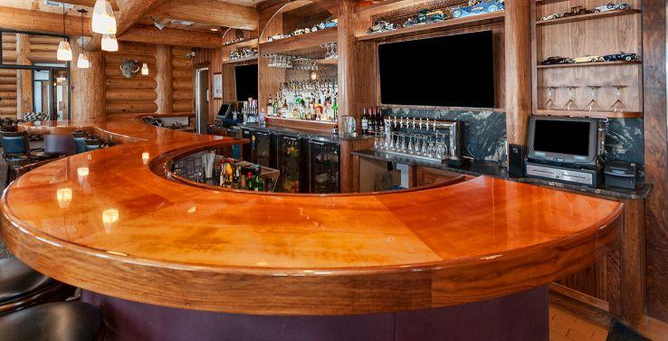 Custom Wood Wet Bar Finish