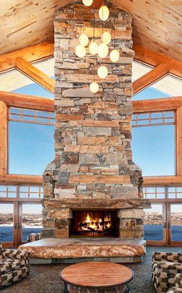 Lodge Hand Crafted Stone Fireplace