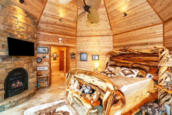 Amazing Custom Wood Bed Frame In Log Home