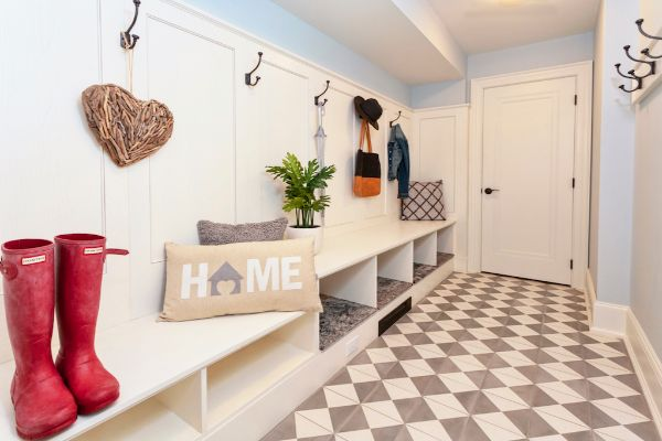 Clean Open Mudroom Storage
