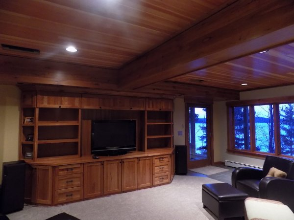 Custom Entertainment Built In Basement Remodel