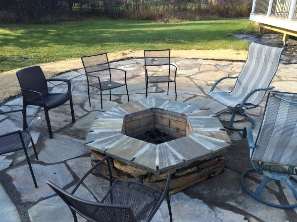 Custom Stone Patio And Firepit