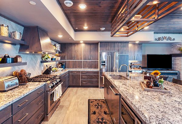 Custom Wood Kitchen Cabinets & Granite Countertop