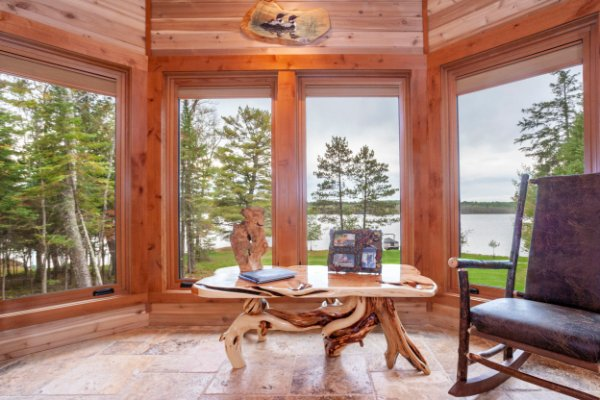 Custom Wooden Table WIth Lake Woods View