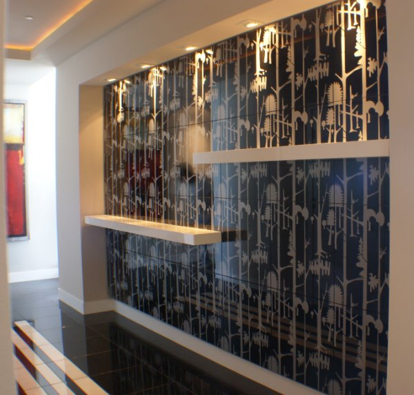 Entry Mural With Shelves Recessed Lighting