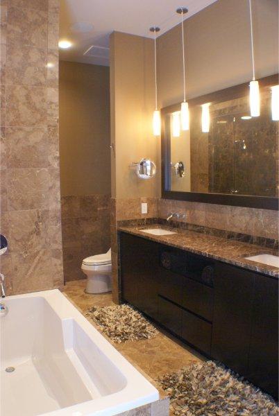Floor To Ceiling Stone Bathroom Dual Sinks