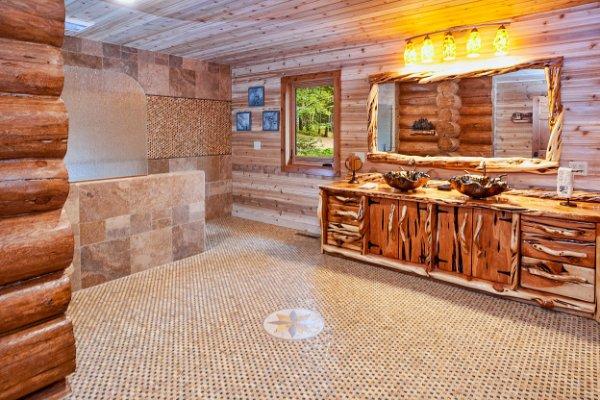 Huge Open Bathroom Custom Wood Vanity Log Home