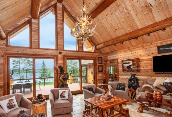 Log Home Great Room Window Wall Facing Lake