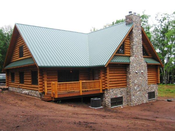 Log Home Green Metal Roof Stone Fireplace