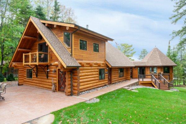 Log Home Timber Frame Stone Patio