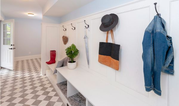 New Mudroom Bench Hooks Storage