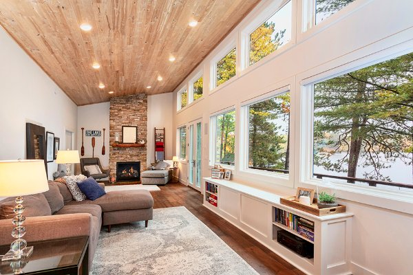 Open Windows With View Fireplace