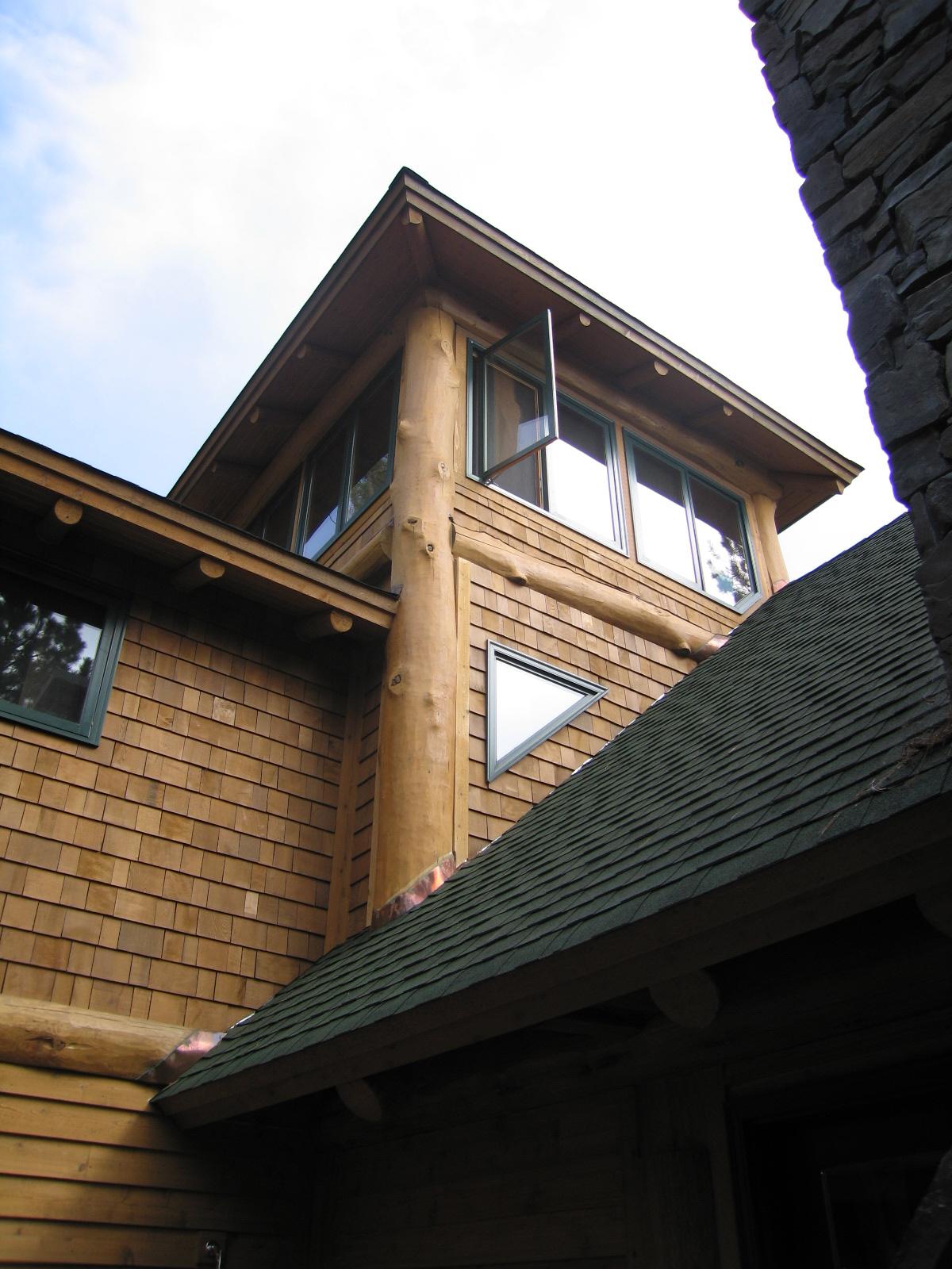 Tower Allows Light Log Cabin