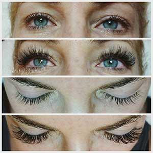 Eyelash extensions - before and after