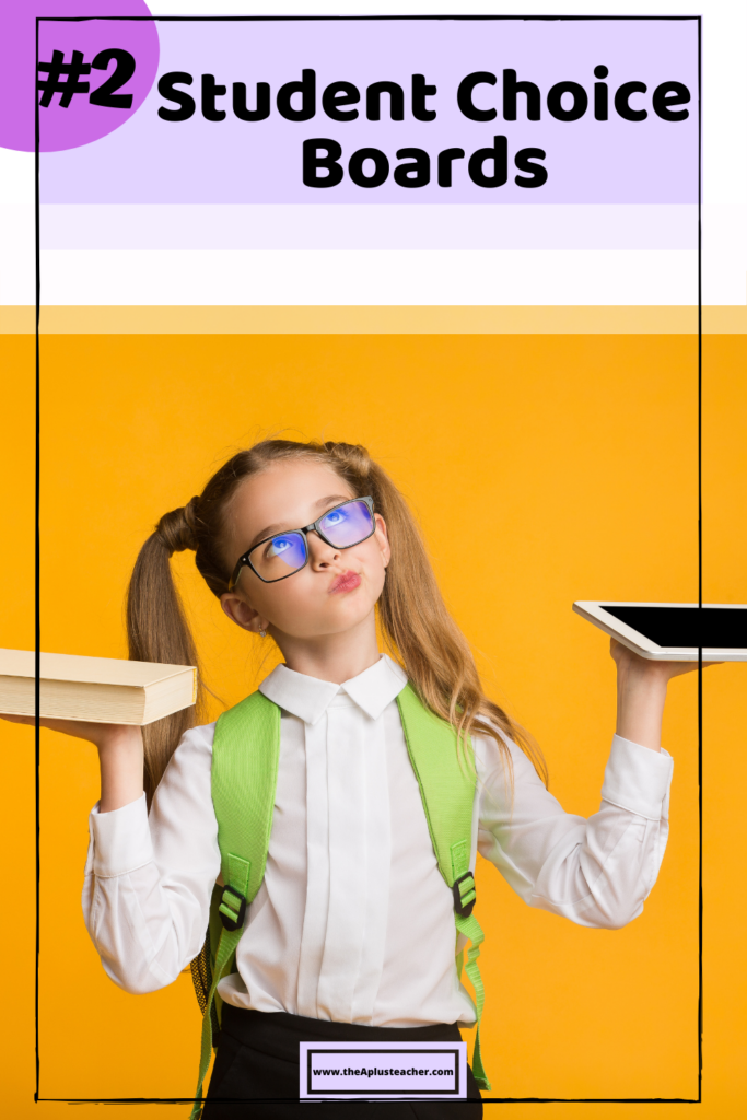 picture says #2 student choice and picture of a girl wearing a backpack and wondering whether to choose a book or a ipad