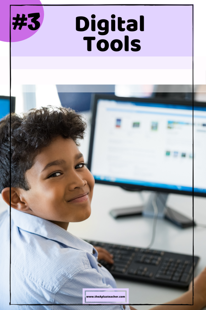 picture says #3 digital tools and a picture of a boy using math websites to learn