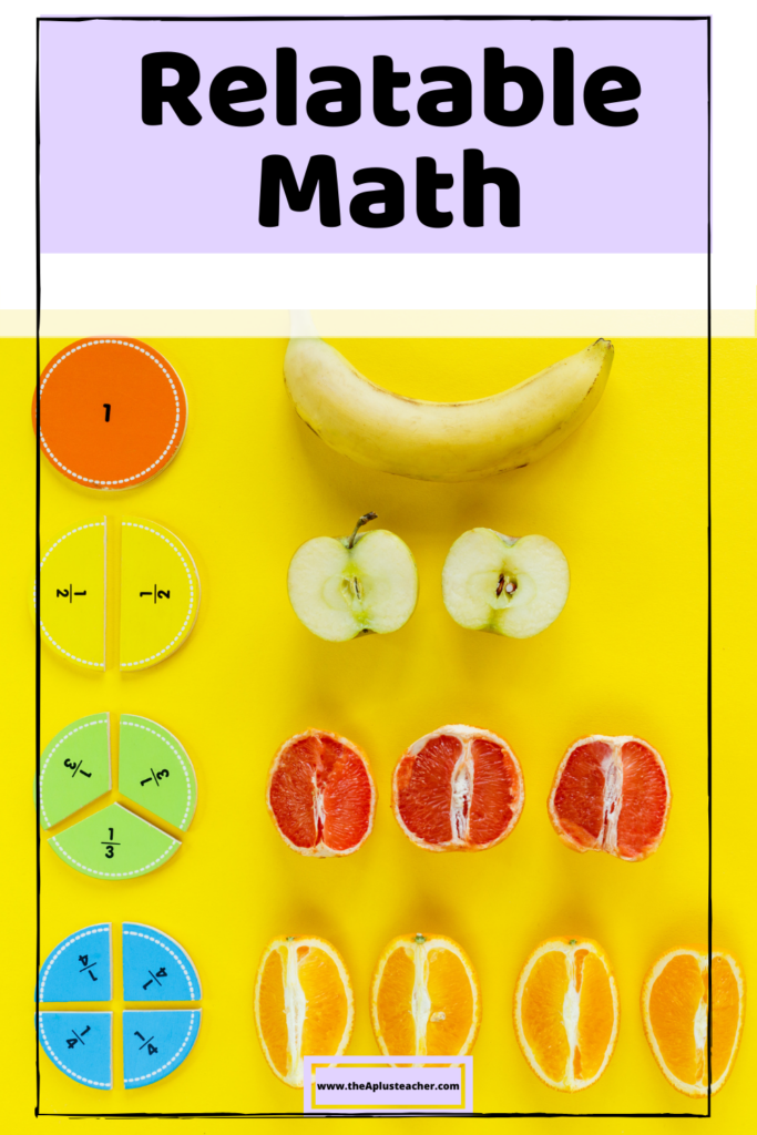 Title says relatable math with a picture of fraction blocks next to different types of fruit cut in different pieces to represent the fraction block
