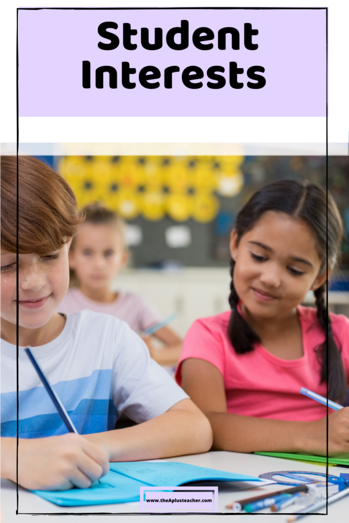 title says student interests and the picture shows a boy and girl interested and engaged in math