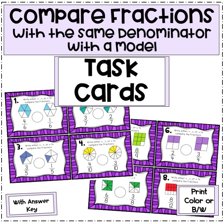compare-fractions-with-the-same-denominator-task-cards-with-a-model-preview-pictures--Slide1