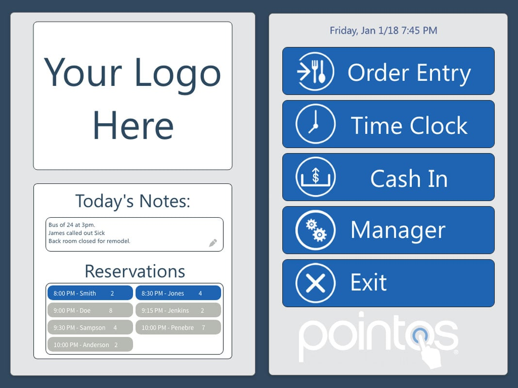 Pointos main menu in cashier mode