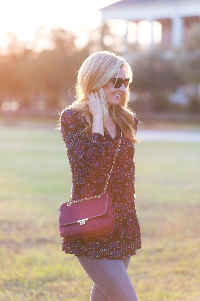 Black Tunic and Merlot Purse with lace up black flats