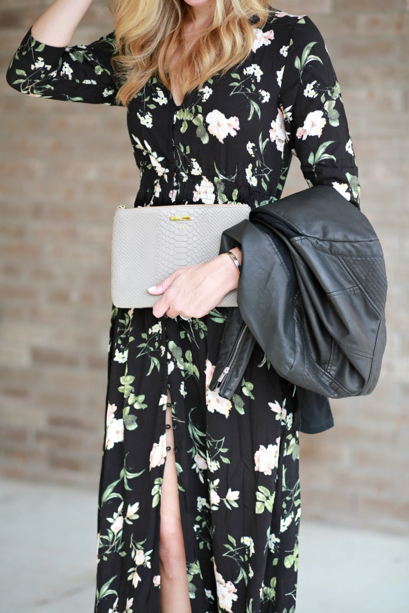 Floral dress and leather jacket