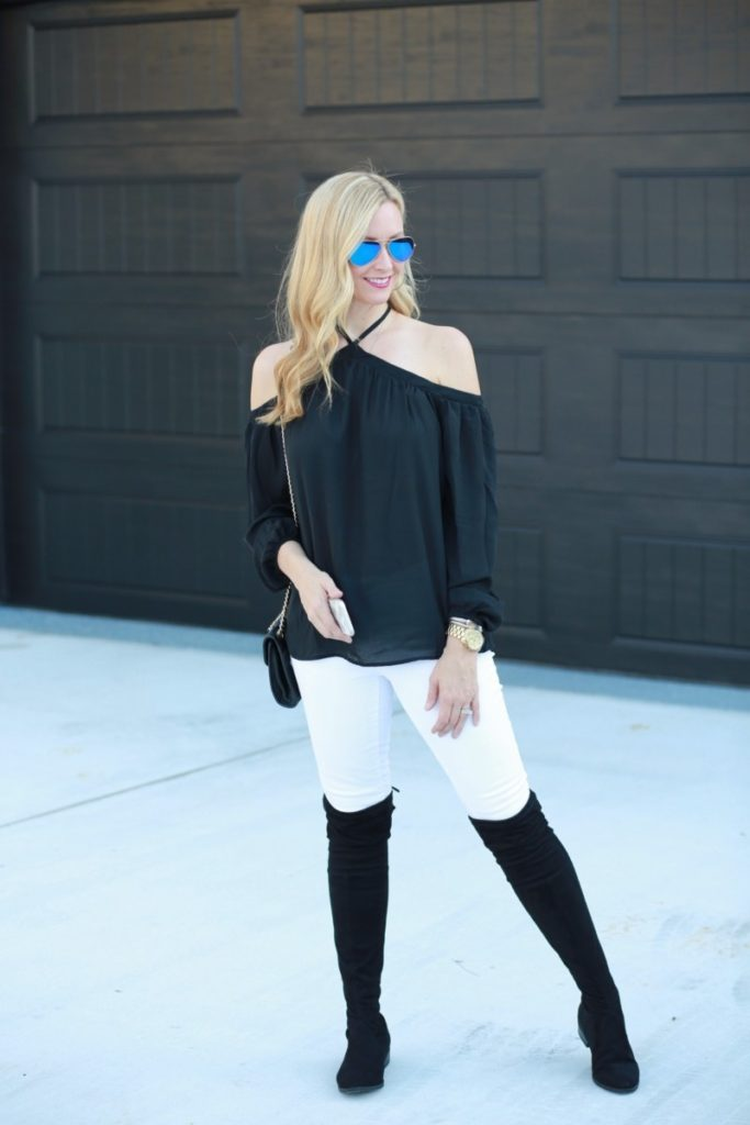 otk boots and cold shoulder top