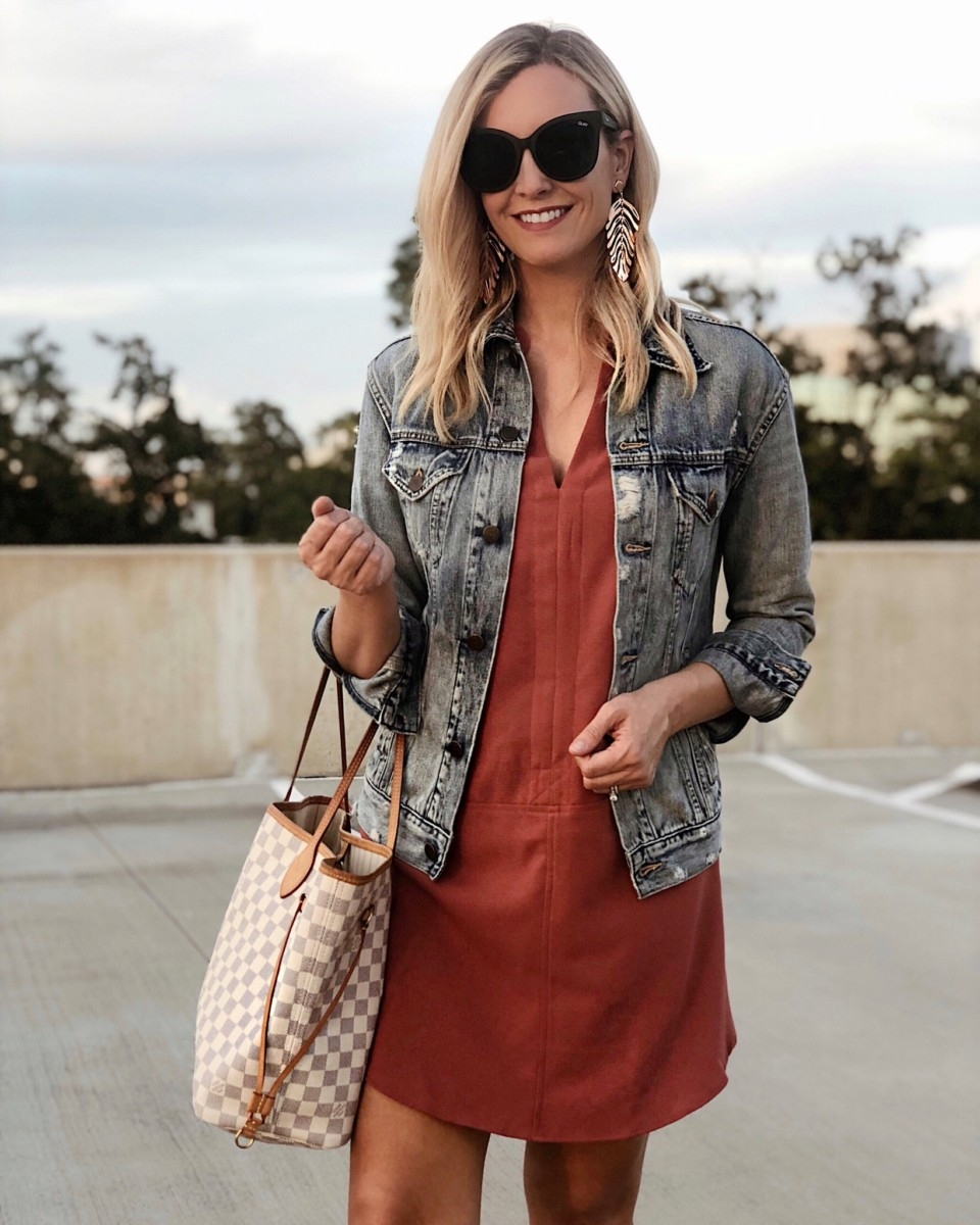casual fall dress | 18 Cute Fall Dresses Under $100 by popular Houston fashion blog, Haute and Humid: image of a woman wearing a Nordstrom Hailey Crepe Dress, Able THE MERLY JACKET, Nordstrom Quay Australia It's My Way 55mm Sunglasses, LOUIS VUITTON Damier Azur Neverfull MM, and Kendra Scott Lotus Statement Earrings.
