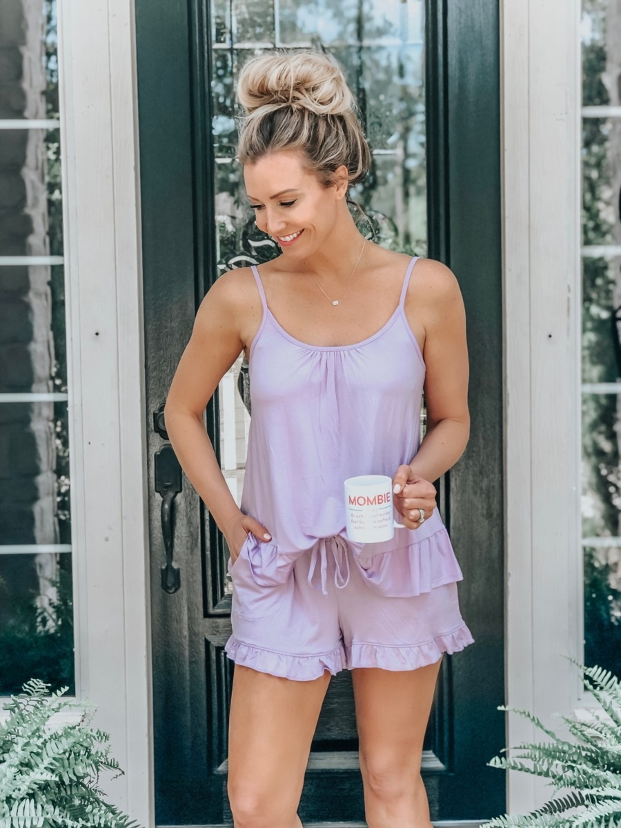Spring Wardrobe featured by top US fashion blog Haute & Humid; Image of a woman wearing pajamas from Walmart.