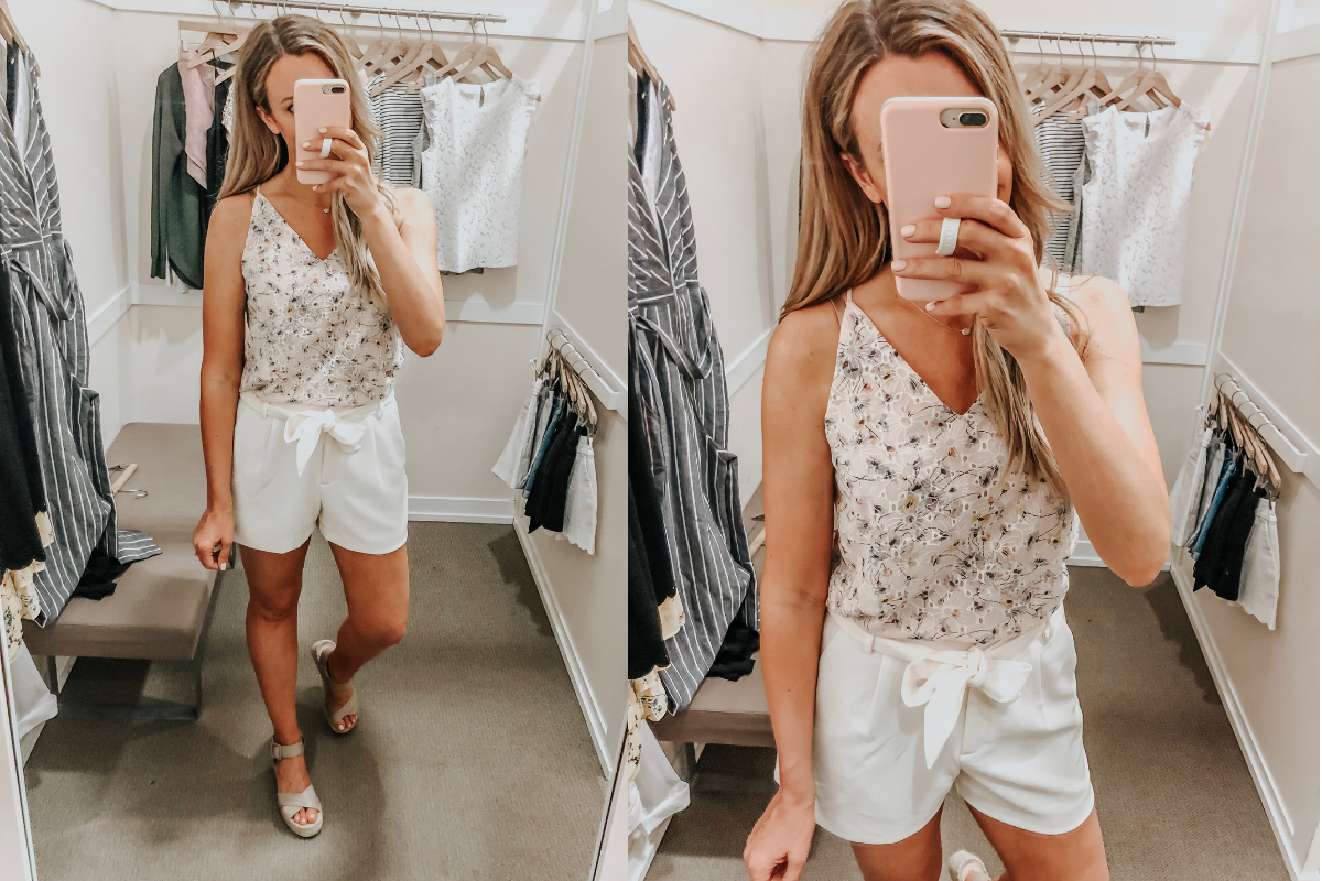 spring cami and shorts | LOFT Favorites: Spring Dressing Room Try-On Session featured by top US fashion blog, Haute & Humid; image of woman wearing a LOFT floral eyelet cami and high wasted shorts