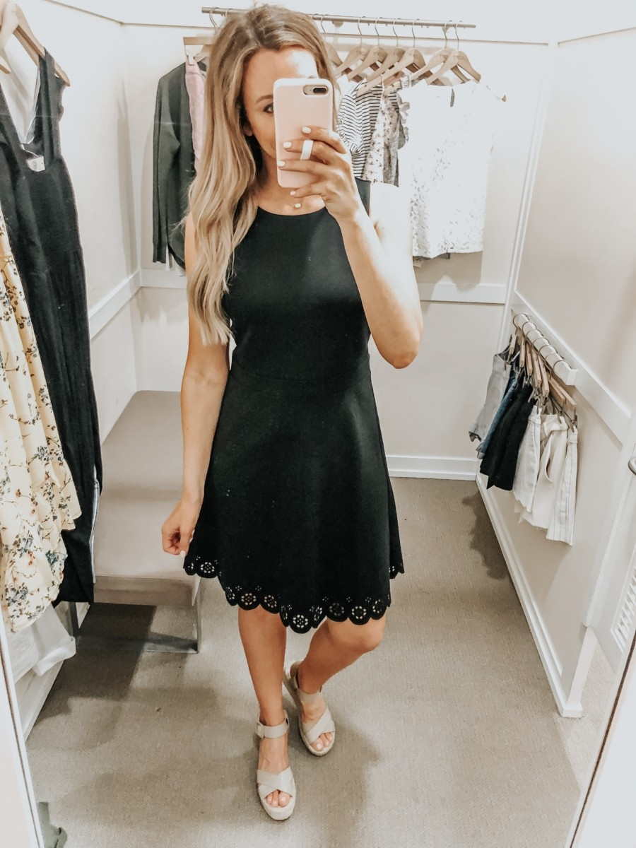 little black dress | LOFT Favorites: Spring Dressing Room Try-On Session featured by top US fashion blog, Haute & Humid; image of woman wearing a LOFT eyelet trim dress