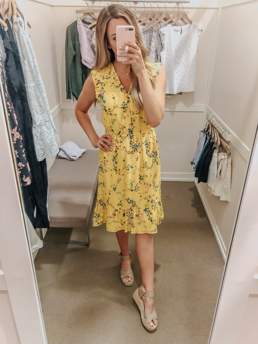 wedding guest dress | LOFT Favorites: Spring Dressing Room Try-On Session featured by top US fashion blog, Haute & Humid; image of woman wearing a LOFT yellow dress