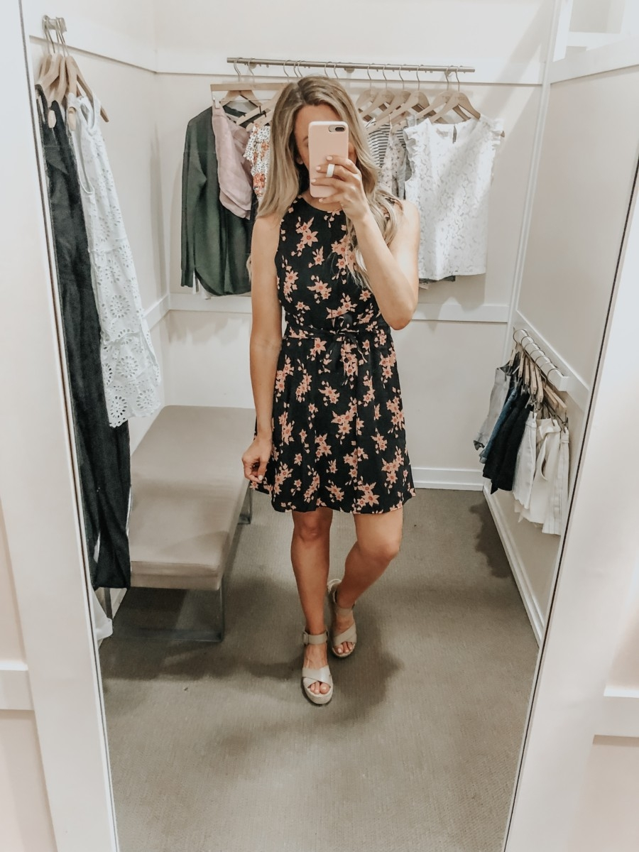 spring dress | LOFT Favorites: Spring Dressing Room Try-On Session featured by top US fashion blog, Haute & Humid; image of woman wearing a LOFT Tie front floral dress