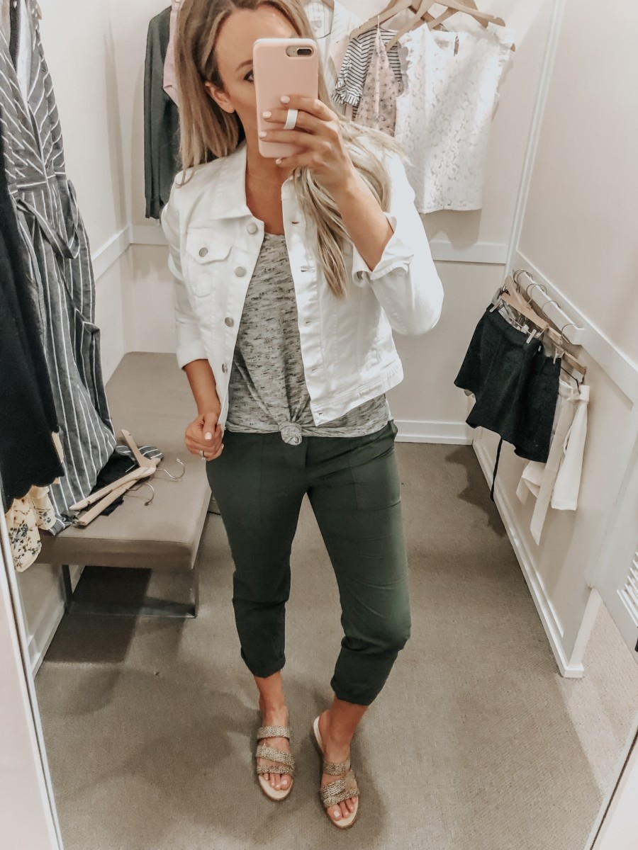 white denim jacket | LOFT Favorites: Spring Dressing Room Try-On Session featured by top US fashion blog, Haute & Humid; image of woman wearing a LOFT white denim jacket, grey tank, utility pants and Sole/Society sandals